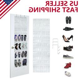 24 Pocket Clear Over The Door Shoe Pantry Closet Cabinet Org