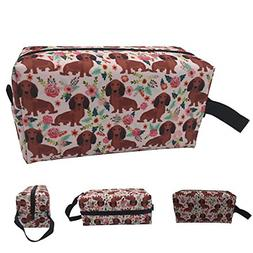 Dachshunds Floral Makeup Bag Cosmetic Toiletry Travel Bag Or