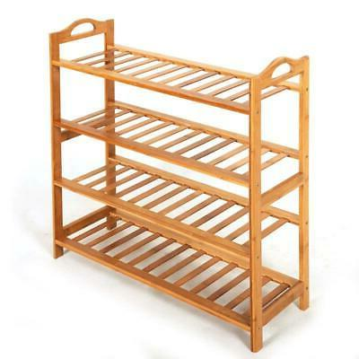 4 TIER NATURAL BAMBOO STAND SHELF UNIT