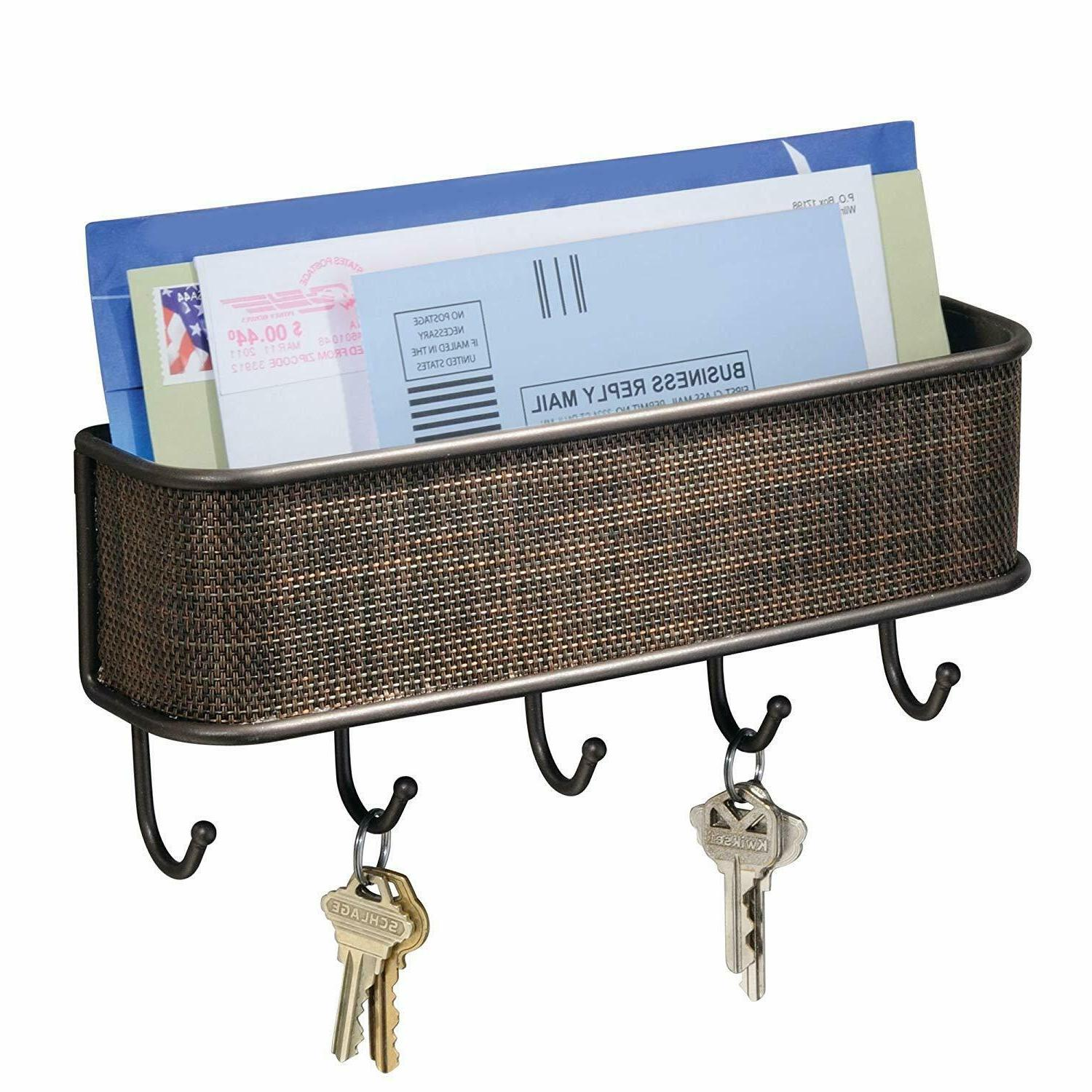 Key Holder Mail Rack Wall Mount Hooks Entryway Mail Organize