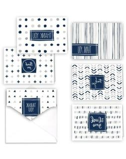Navy Patterns Canopy Street Blank Thank You Greeting Note Ca