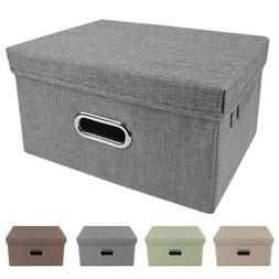 Storage Bins Collapsible Stackable Linen Fabric Cubes Boxes