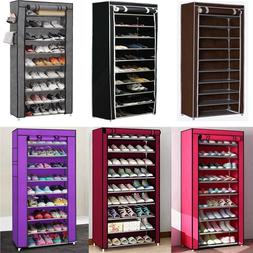 USA 9 Tier 30 Pairs Shoe Rack Tower Cabinet with Cover  Orga